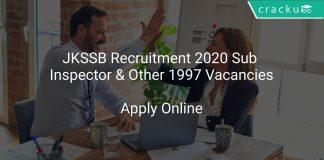 JKSSB Recruitment 2020 Sub Inspector & Other 1997 Vacancies