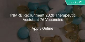 TNMRB Recruitment 2020 Therapeutic Assistant 76 Vacancies