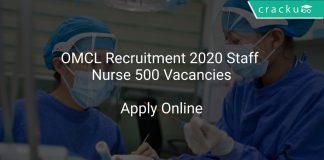 OMCL Recruitment 2020 Staff Nurse 500 Vacancies