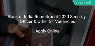 Bank of India Recruitment 2020 Security Officer & Other 21 Vacancies
