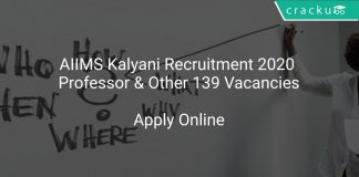 AIIMS Kalyani Recruitment 2020 Professor & Other 139 Vacancies