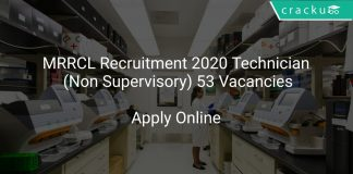 MRRCL Recruitment 2020 Technician (Non Supervisory) 53 Vacancies