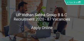 UP Vidhan Sabha Group B & C Recruitment 2020 - 87 Vacancies