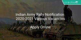 Indian Army Rally Notification 2020-2021 Various Vacancies