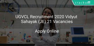 UGVCL Recruitment 2020 Vidyut Sahayak (JE) 21 Vacancies