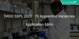 DRDO SSPL 2020 - 70 Apprentice Vacancies