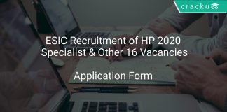 ESIC Recruitment of HP 2020 Specialist & Other 16 Vacancies