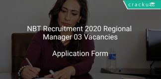 NBT Recruitment 2020 Regional Manager 03 Vacancies