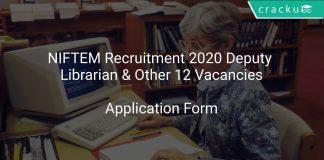 NIFTEM Recruitment 2020 Deputy Librarian & Other 12 Vacancies