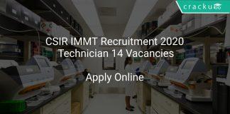 CSIR IMMT Recruitment 2020 Technician 14 Vacancies
