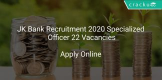 JK Bank Recruitment 2020 Specialized Officer 22 Vacancies