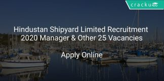 Hindustan Shipyard Limited Recruitment 2020 Manager & Other 25 Vacancies