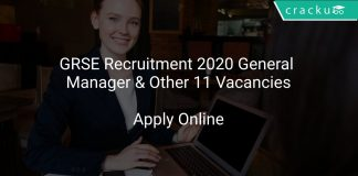 GRSE Recruitment 2020 General Manager & Other 11 Vacancies