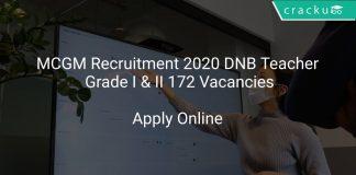 MCGM Recruitment 2020 DNB Teacher Grade I & II 172 Vacancies