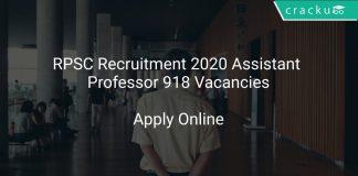 RPSC Recruitment 2020 Assistant Professor 918 Vacancies