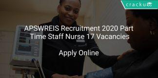 APSWREIS Recruitment 2020 Part Time Staff Nurse 17 Vacancies