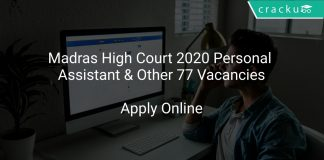 Madras High Court 2020 Personal Assistant & Other 77 Vacancies