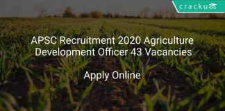 APSC Recruitment 2020 Agriculture Development Officer 43 Vacancies