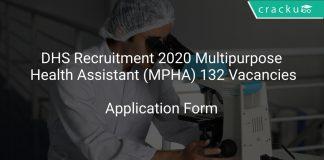 DHS Recruitment 2020 Multipurpose Health Assistant (MPHA) 132 Vacancies