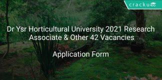 Dr Ysr Horticultural University Recruitment 2021 Research Associate & Other 42 Vacancies