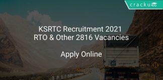 KSRTC Recruitment 2021 RTO & Other 2816 Vacancies
