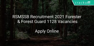 RSMSSB Recruitment 2021 Forester & Forest Guard 1128 Vacancies