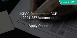 JKPSC Recruitment CCE 2021 257 Vacancies