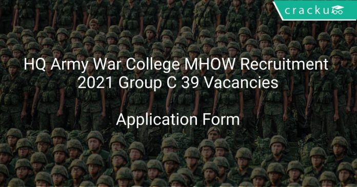 HQ Army War College MHOW Recruitment 2021 Group C 39 Vacancies