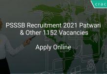 PSSSB Recruitment 2021 Patwari & Other 1152 Vacancies