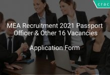 MEA Recruitment 2021 Passport Officer & Other 16 Vacancies