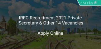 IRFC Recruitment 2021 Private Secretary & Other 14 Vacancies