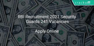 RBI Recruitment 2021 Security Guards 241 Vacancies