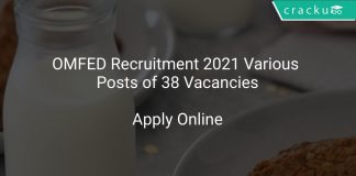OMFED Recruitment 2021 Various Posts of 38 Vacancies