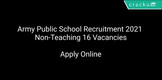 Army Public School Recruitment 2021 Non-Teaching 16 Vacancies