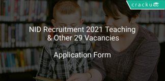 NID Recruitment 2021 Teaching & Other 29 Vacancies