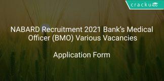 NABARD Recruitment 2021 Bank's Medical Officer (BMO) Various Vacancies