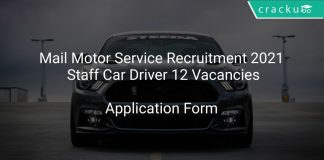 Mail Motor Service Recruitment 2021 Staff Car Driver 12 Vacancies