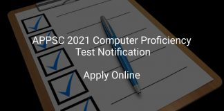 APPSC 2021 Computer Proficiency Test Notification