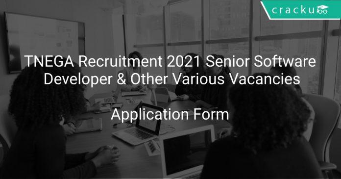 TNEGA Recruitment 2021 Senior Software Developer & Other Various Vacancies