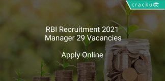 RBI Recruitment 2021 Manager 29 Vacancies